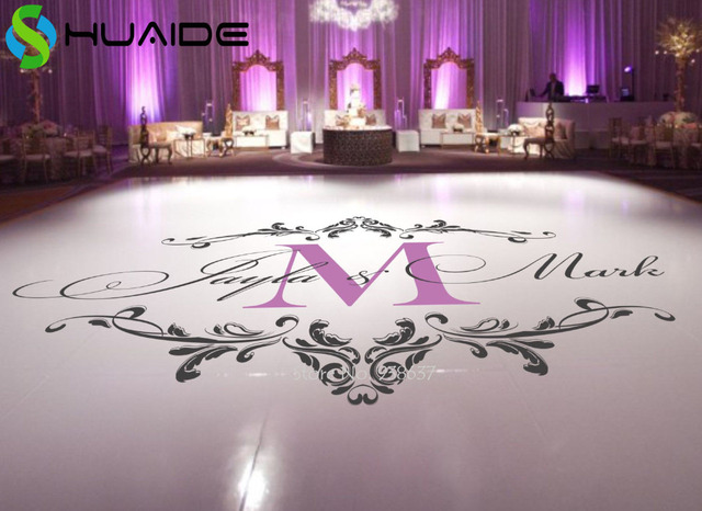 Wedding dance floor stickers custom names available vinyl floor decals removable wedding floor monogram waterproof sticker
