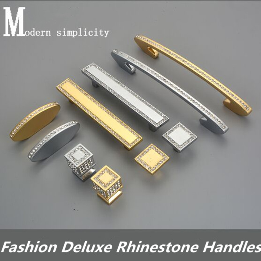 96mm 128mm Modern fashion deluxe diamond villa furniture decoration handles K9 crystal drawer tv cabinet knobs pulls silver gold 128mm modern fashion deluxe rhinestone kitchen cabinet wine cabinet door handles golden silver k9 crystak tv cabinet pulls knobs