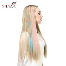 "20"" Long Straight Fake Colored Hair Extensions Clip in Highlight Rainbow Hair Streak Ombre Pink Synthetic Hair Strands On Clips(China)"
