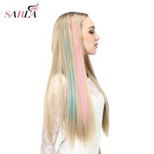 20 długie proste fake kolorowe przedłużanie włosów klip w Podświetl tęczowe włosy Streak Ombre Pink syntetyczne nici do włosów na klipsy tanie tanio 2 cale z 1 klipami SARLA Włókno wysokotemperaturowe Japonia wysokiej temperatury Fiber (wygląda naturalnie jak ludzkie włosy)