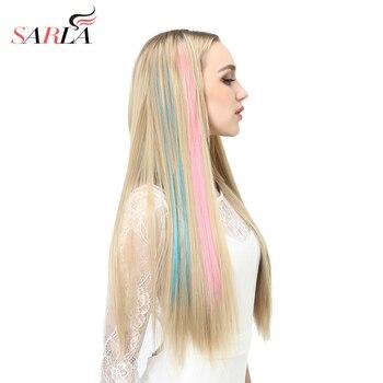 Extensiones de cabello de color falso, largas y rectas de 20 pulgadas, con Clip para resaltar, color arcoíris, degradado de pelo sintético rosa, hebras en Clips