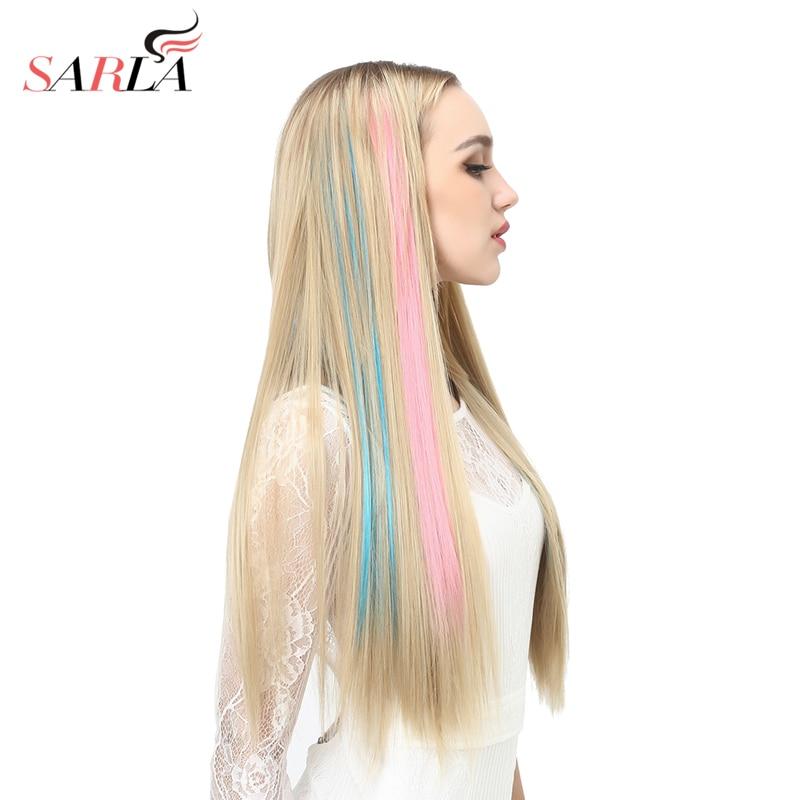 SARLA 1 ШТ. Прямые Синтетические Волокна Клип В Наращивание Волос 20 дюймов 50 см Теплоизоляционный 14 Цвета Парики