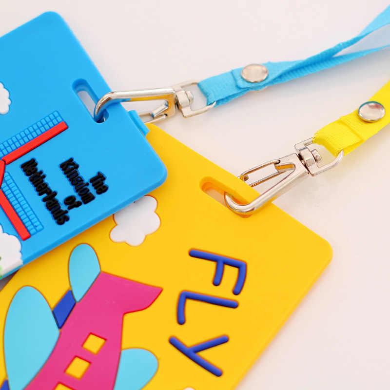 سوبر لطيف الكرتون سيارة الحيوانات سيليكون غطاء بطاقة حافلة البنك حامل بطاقة الهوية مع حبل