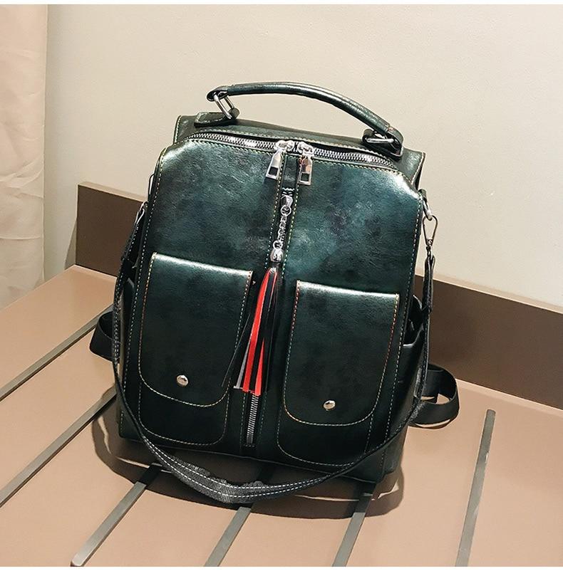 HTB1AeOFadfvK1RjSspoq6zfNpXaj Retro Leather Women Backpack Zipper School Backpacks For Teenage Girls Bag Large Capacity Multifunction Mochila Feminina XA227H