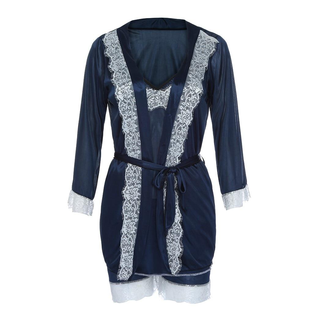 Damen-nachtwäsche Besorgt Youyedian Frauen 1 Stück Sexy Seide Patchwork Nachtwäsche Spitze Sexy Glatte Dessous Nachtwäsche Weibliche Bademantel Nahtlose Pyjamas # Y50