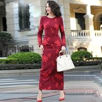 HIGH QUALITY 2016 Fall Winter Designer Maxi Dress Women S Long Sleeve Flower Embroidery Pencil Full