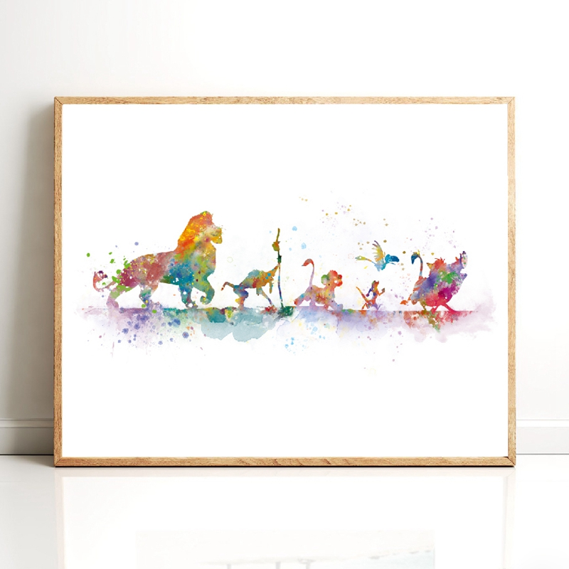 Lion King Poster Canvas Print Watercolor Classic Cartoon Simba Art Painting Gift Nursery Wall Art Picture Kids Room Home Decor