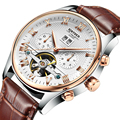 2017 Relogio masculino Homens Relógio Marca de Topo Mecânico Automático de Esqueleto Relógios de Luxo Banda Pulseira De Couro Genuíno Preto Ouro