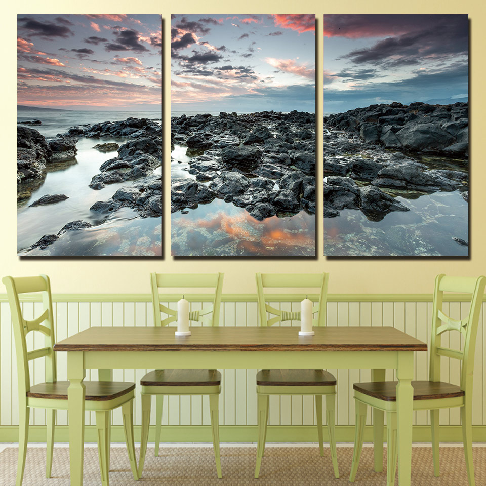 Aliexpress.com : Buy 3 Panels Canvas Art Coast Rocks Cloudy Home ...