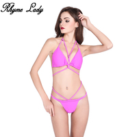 Rhyme Lady 2018 Bikinis Set Women Halter Spaghetti Strap Bathing Suit Bandage Style Swimwear Tong Bottom