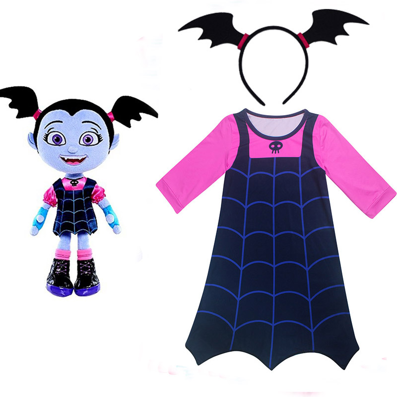 Junior Vampirina The Vamp Batwoman Girl Dresses Moana Cosplay Costume For  Gril With Hair Hoop Party