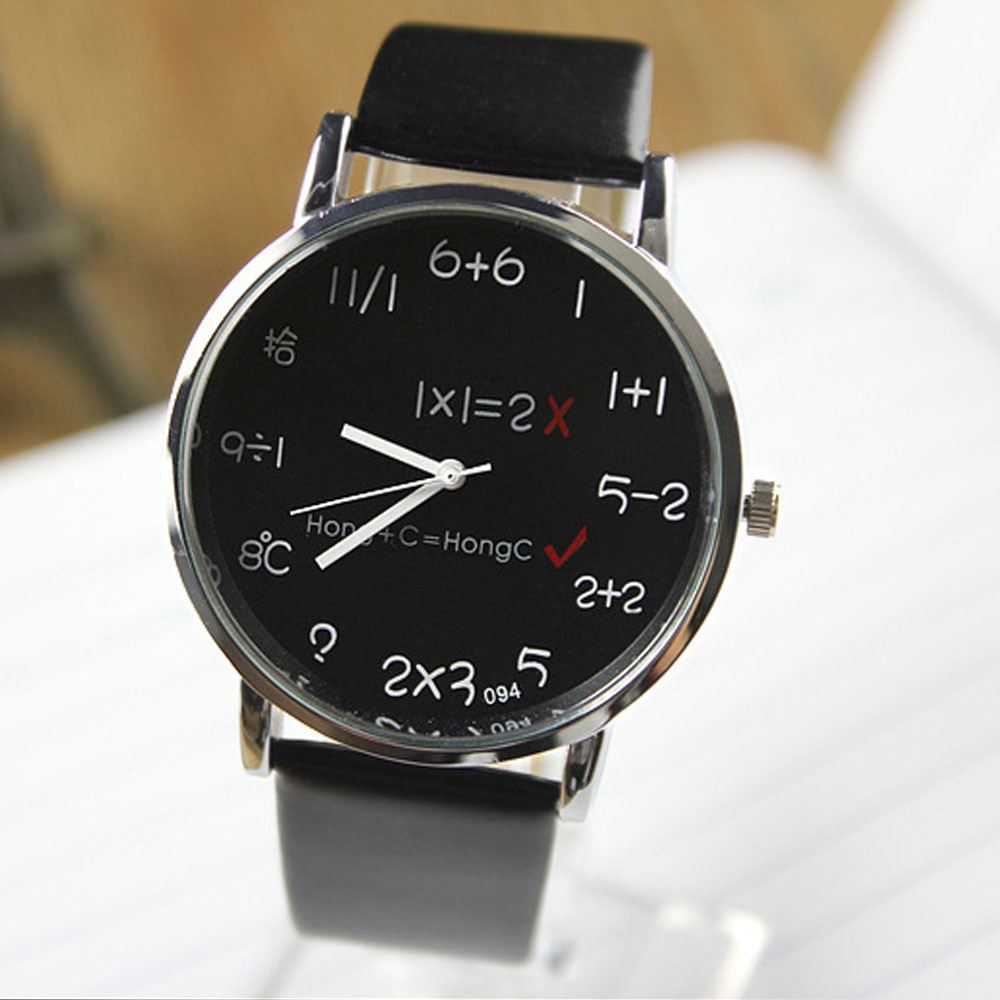 Hot Selling Women Mens Watches Unisex Students Math Formula Clock Leather Band Stainless Steel Dial Quartz Wrist Watch