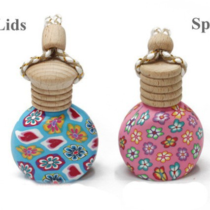 5ml Flower Painting Glass Bottle with Wooden Lids Cosmetic Jars Bottle Packaging Free Shipping 10pcs/lot DC204