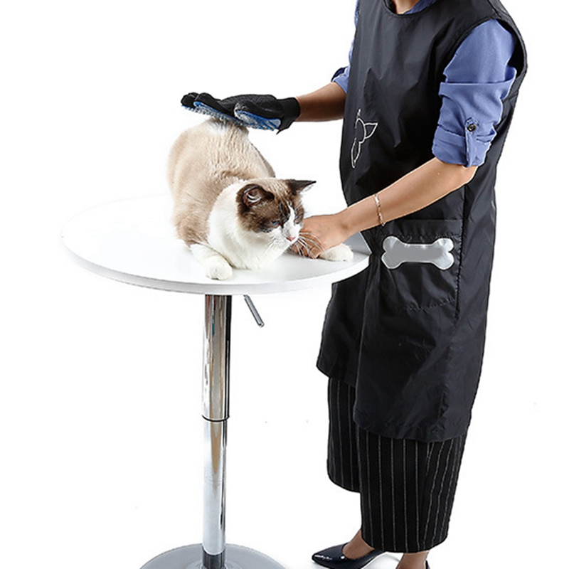 Pet Shop Clothes Beautician Overall Anti-stick Hair Grooming Apron Waterproof Cat Dog Bathing Suit Sleeveless With Pockets Clean