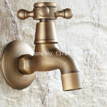 Antique Brass Wall Mounted Cross Handles Bathroom Sink Basin Mop Taps Faucet  ana019