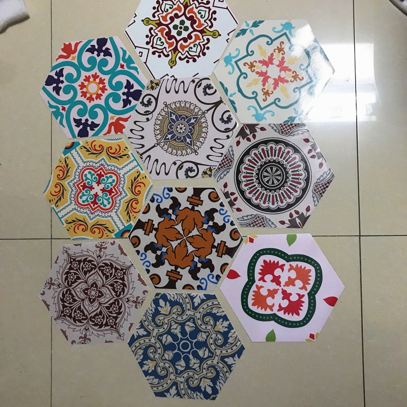 Funlife Baroque Anti slip floor sticker Geometry Hexagon Mat Design Wall Sticker Self adhesive Waterproof Home Decor Bathroom in Wall Stickers from Home Garden