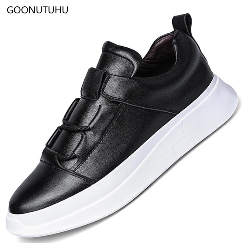 2018 fashion Men's shoes casual genuine leather cow thick bottom shoe man classic platform white black shoes for men size-38-45 marmot midweight bottom cocona man black