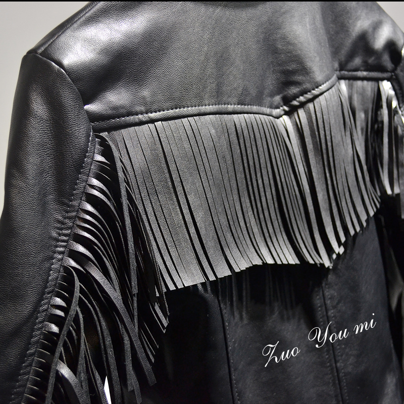 Moto Veste Vente Tassel After Tassel blue Slim Rue Solides Tassel Zipper Franges Black Printemps Pu Gland black Retour De Nouvelles Femmes En Mode Cuir Plein 2017 À Before tqH0pFWW