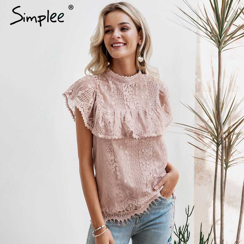 Simplee O neck lace hollow out women blouse shirt Embroidery ruffle lining elegant blouses female Summer party blouses and tops