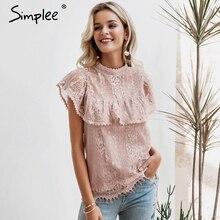 Simplee O boyun dantel kesik dekolte kadın bluz gömlek Nakış fırfır astar zarif bluzlar kadın Yaz parti bluz ve üstleri