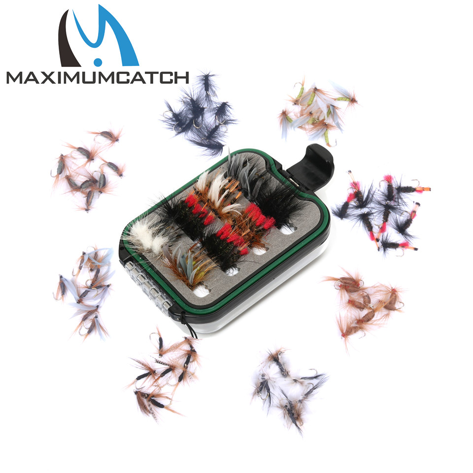 Maximumcatch Fly Fishing Box With 60pcs Fly Fishing Flies Hooks  Waterproof Plastic Double Side Lanyard