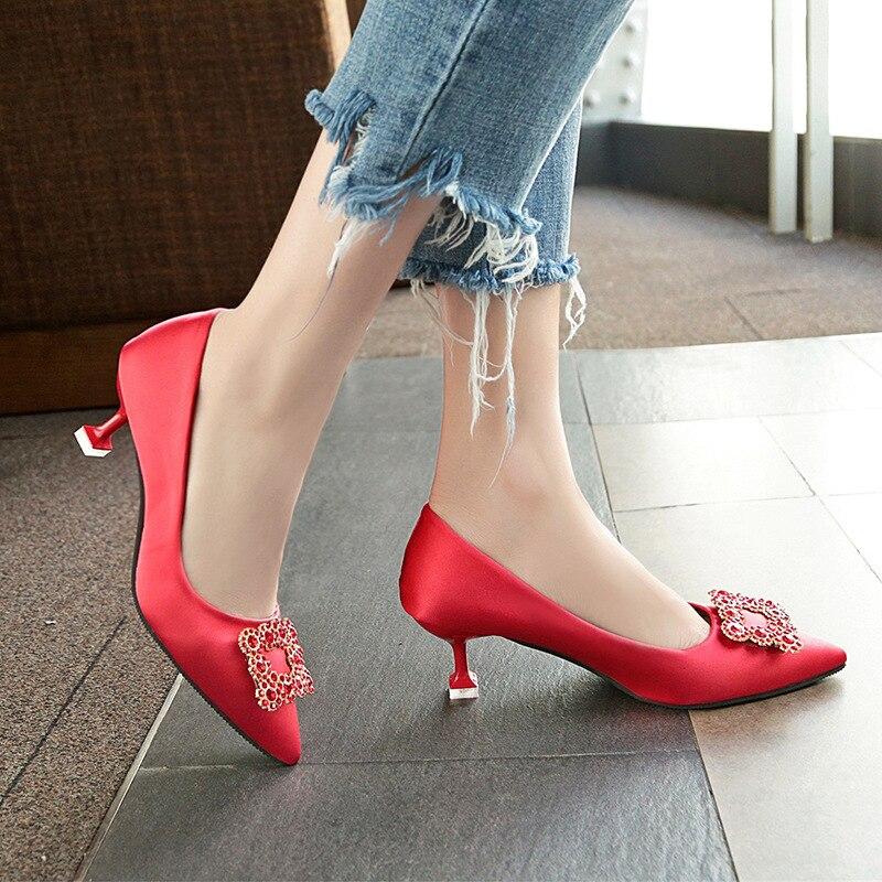 Faible Avec Femme Femmes Sangle 3 Pompes Haute Arc Ronde Chaussures 1 2 Mariage Dentelle Stilettos Dames Boucle De 2018 Talons Cristal Liangpian 6trwSt