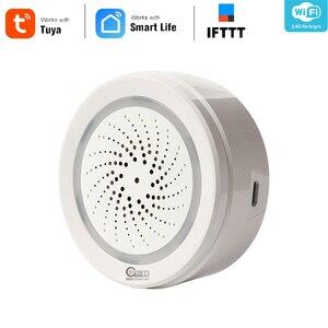 Image 1 - Sensor de alarma de sirena NEO Coolcam para casa inteligente, conexión con Sensor de temperatura y humedad, Tuya Smart Life, Alexa y IFTTT