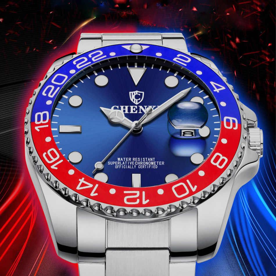 Люксовый бренд CHENXI мужские часы из нержавеющей стали синие мужские кварцевые часы водонепроницаемые часы с календарем разноцветные Стильные повседневные деловые часы