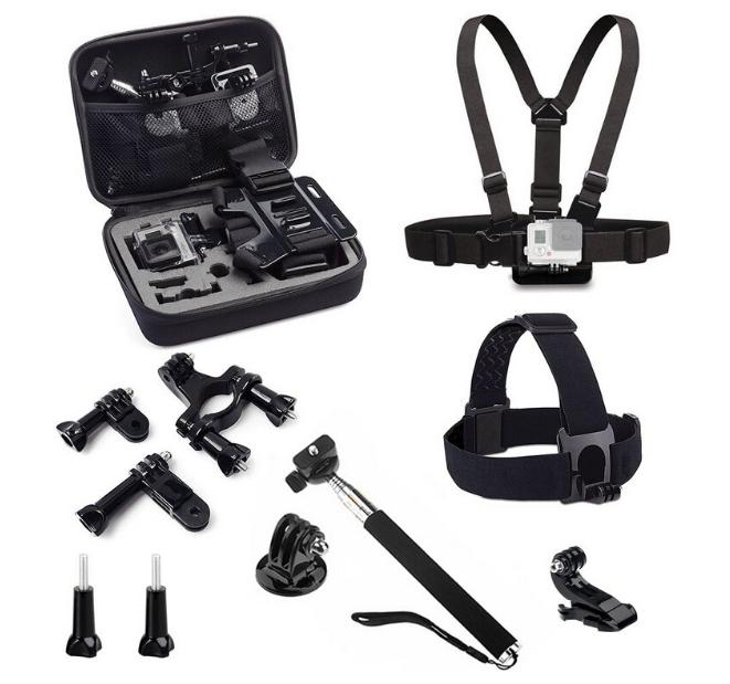 Prix pour Marque Nouveau 9-en-1 Combinaison Pack Accessoires Kit Compatible pour Tous Les Sports Caméra Série