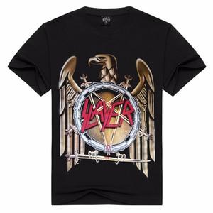 2018 New SLAYER T Shirt Men/Women Summer 100% Cotton Tshirt Short Sleeve Black Tops T-shirts Rock Style Asian Size S-3XL(China)