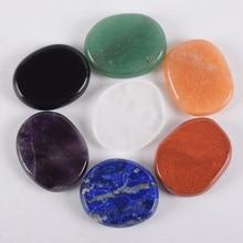 Natural Chakra Palm Stone Colored Set 7 pcs Healing Hot Massage Stones SPA Reiki Crystal Be