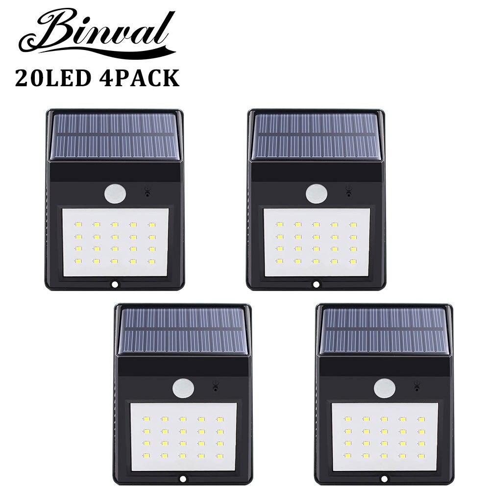 Binval 20 Led Solar Light Outdoor Solar Lamps Light Sensor Led Garden Lamp Panel Outdoor Led Garden Lamp Auto 4 Pieces