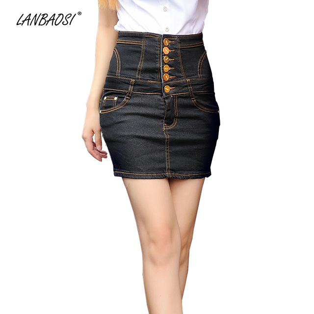 LANBAOSI Black Denim Skirt for Women Package Hip Jeans Skirt High Waist  Cowboy Skirts Female Girl Sexy Casual Mini Short faldas 3426ef8ceb