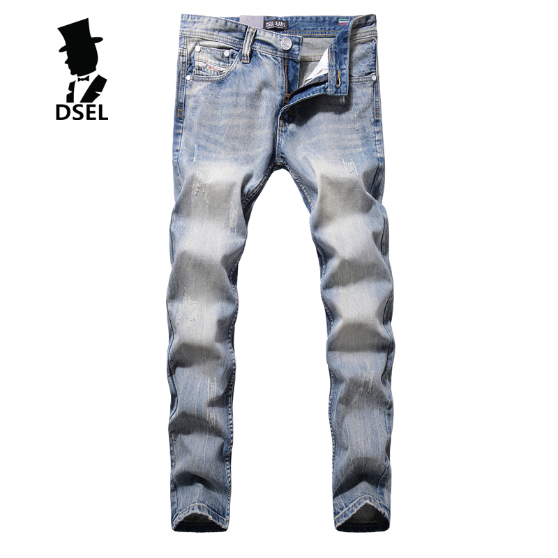 2017 New Fashion Mens Jeans Ripped Denim Casual Trousers Male High Quality Full Size Dsel Brand Light Blue Jeans Men G981 patch jeans ripped trousers male slim straight denim blue jeans men high quality famous brand men s jeans dsel plus size 5704