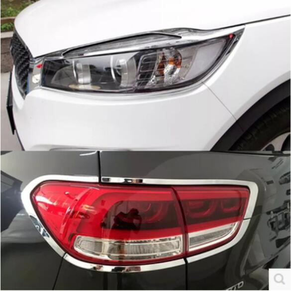 Car ABS Chrome Front Headlight + Rear Tail Light Lamp Cover Trim For KIA Sorento 2015 2016 2017 2018