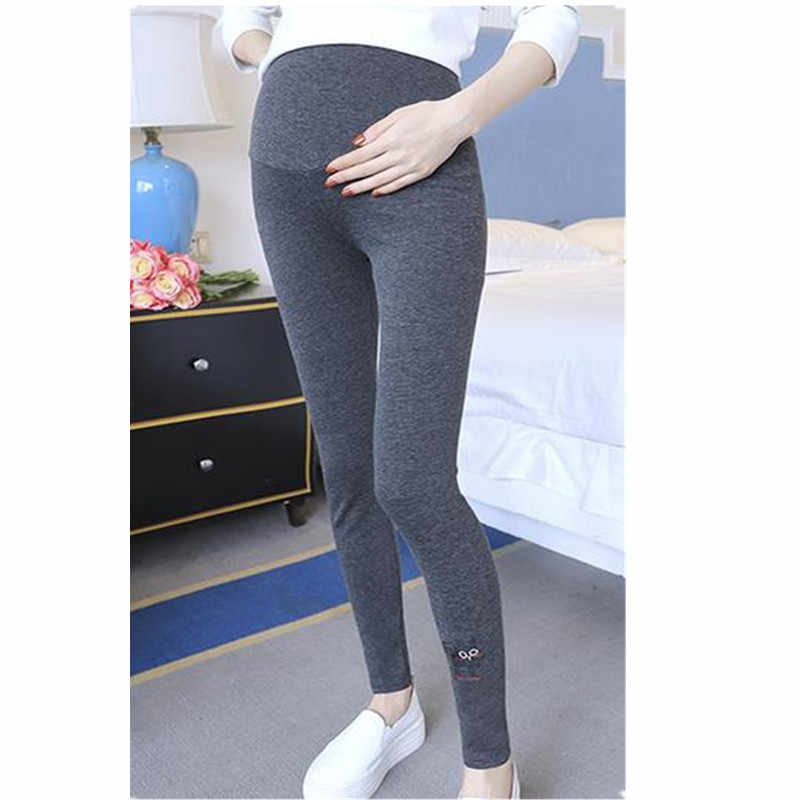 504d738892aa4a Free Ship Spring Maternity Leggings Cotton Pants Long Tousers Clothes For Pregnant  Women Embroidery Cat Pregnancy