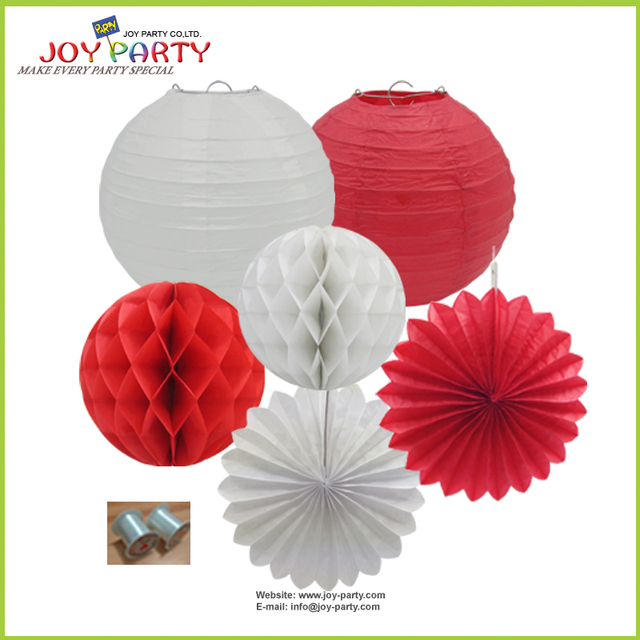 Por Chinese Red Themed Festival Garden Wedding Birthday Party Paper Lantern Fan Ball Hanging Decoration