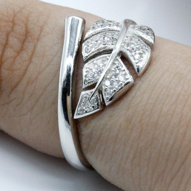 Sterling Silver Open Monstera Leaf Zircon Adjustable Ring