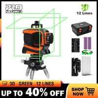 PROSTOEMER Laser vert niveau 3D 12 ligne auto-nivelant professionnel Nivel Laser ligne 360 Autonivelante Graus Horizontal Vertical
