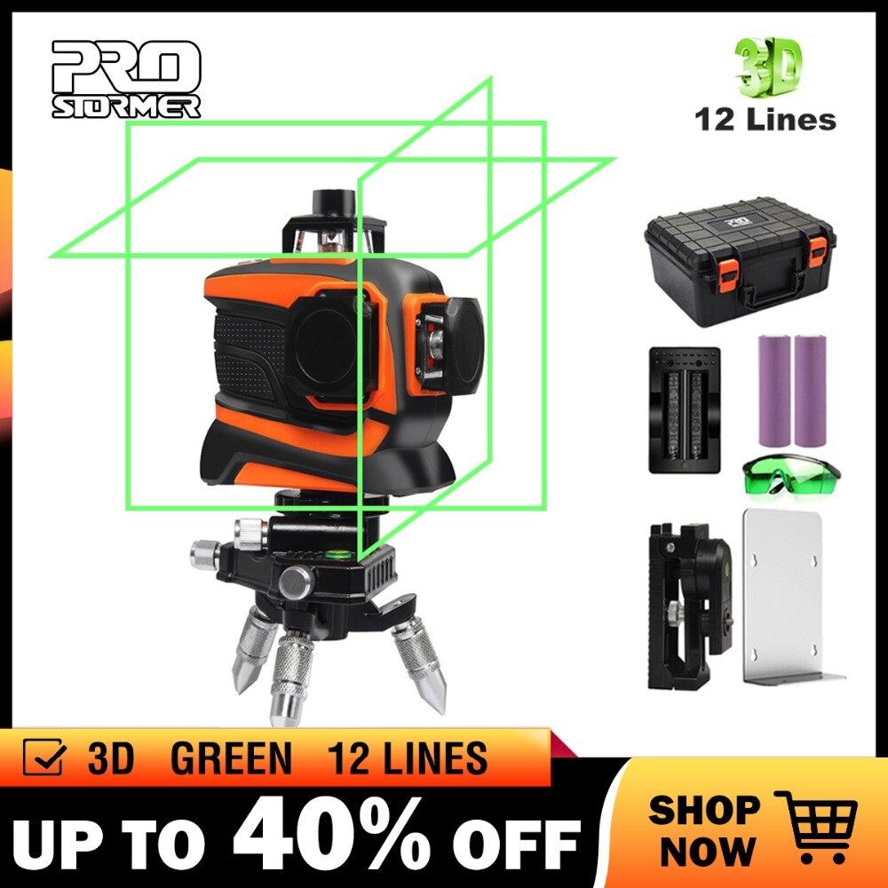 Prostoemer verde laser nível 3d 12 linha auto-nivelamento profissional nivel laser linha 360 autonivelante graus horizontal vertical