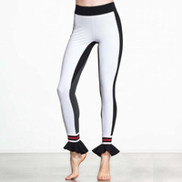 High Quality Black White Grey Patchwork Women S Yoga Pants Ruffle Design Fitness Sports Tight Leggings