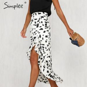 Image 3 - Simplee Animal print women skirt Asymmetrical ruffled summer style ladies skirts High waist A line female bottom midi skirts