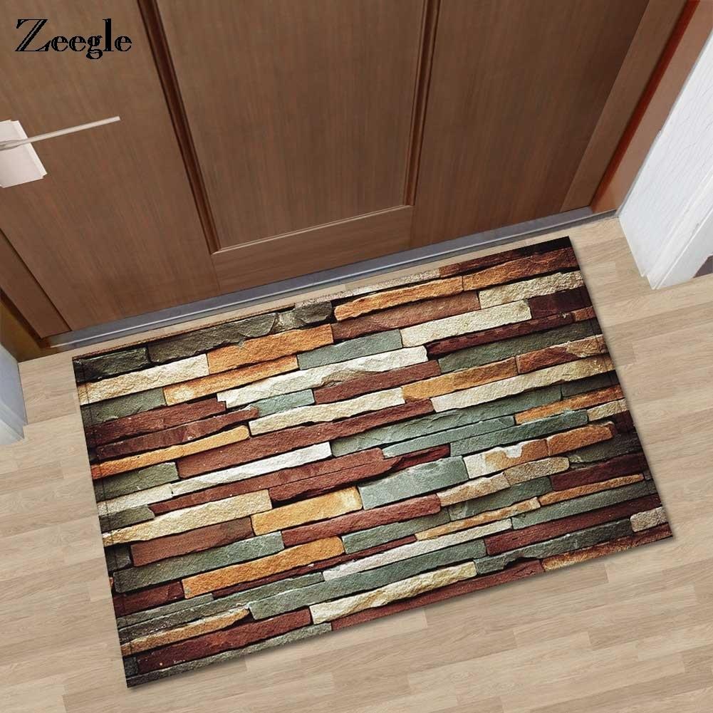 Zeegle Brick Printed Doormats Absorbent Bath Mat Floor Mats Hallway  Bathroom Floor Mats Kitchen Area Rug