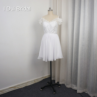 Off The Shoulder A Line Short Knee Length Wedding Dress Little White Dress With Lace Corset