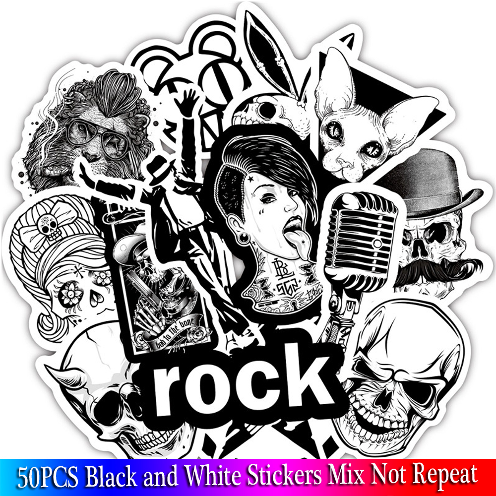 50Pcs Punk Cool Skull Rock Sticker Black And White Stickers For Luggage Laptop Bicycle Motorcycle Laptop Toys Stickers Pack Sets