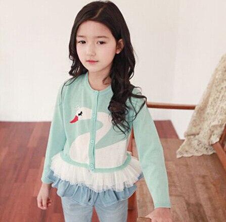 Новая Мода Корейский Стиль Дети Лебедь Трикотажные Кардиганы Дети Трикотажа Свитера для девочек трикотаж Зеленый Черный