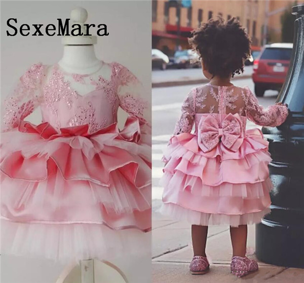 New Pink Baby Girls Birthday Dress Knee Length Long Sleeves Lace Sequins Custom Made Girls Dresses Size 9m-24m pink lace up design cold shoulder long sleeves hoodie dress