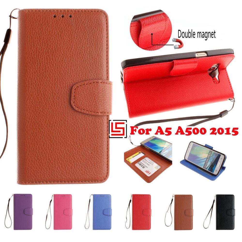 6ffbd15ffff Moda pu cuero de cuero Flip clamshell libro Wallet teléfono móvil caso  Shell para Samsung Galaxy A5 2015 A500 un 5