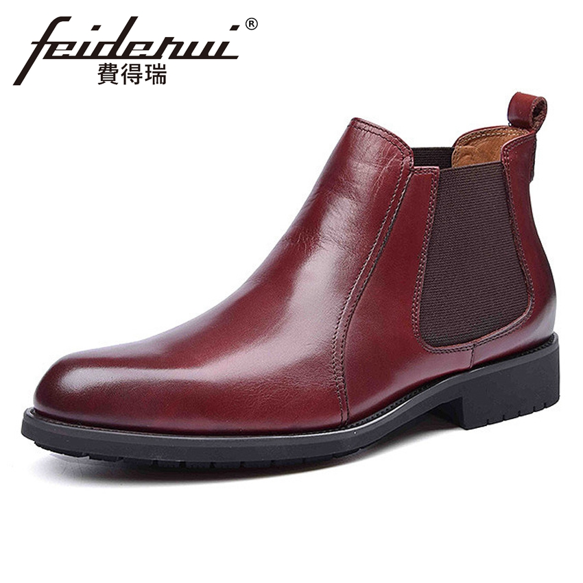 Classical Genuine Leather Mens Chelsea  Ankle Boots Round Toe Handmade Comfortable Cowboy Man Outdoor Riding Shoes YMX345Classical Genuine Leather Mens Chelsea  Ankle Boots Round Toe Handmade Comfortable Cowboy Man Outdoor Riding Shoes YMX345