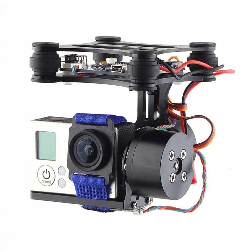 Professional Drone Parts Brushless Gimbal Frame+2*Motors+Controller for DJI Phantom FPV Gopro 4 3+ 3 6A30 Drop Shipping aluminum gimbal camera mount ptz with brushless motor controller for gopro 2 3 3 fpv dji phantom drones spare parts color black